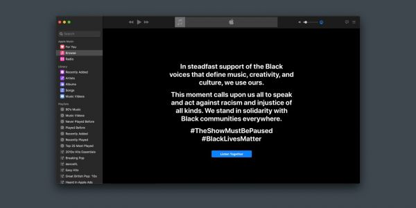Apple Music joins wider music industry Black Out Tuesday awareness campaign with app takeover