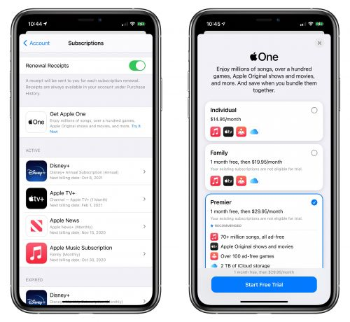 Apple One is Now Available: Save Money by Bundling Apple Music, iCloud Storage, Apple TV+, Apple Arcade, and More