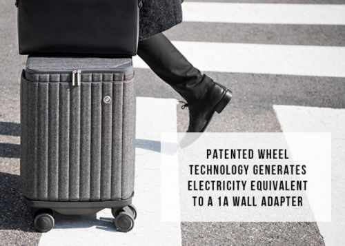 ESCAPE S suitcase with charger generates its own power as you push