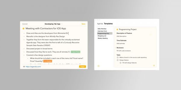 Agenda note-taking app adds new sharing extensions, template feature, more