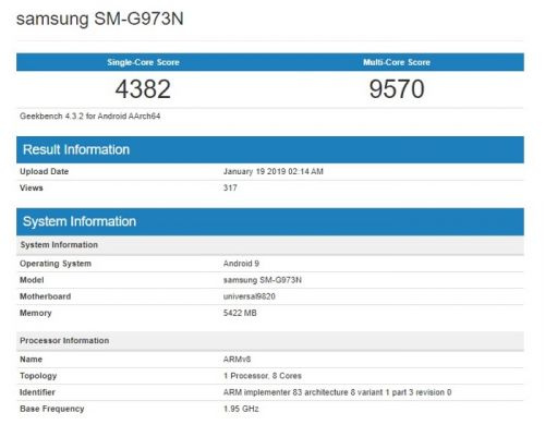Samsung Galaxy S10 with Exynos 9820 appears on benchmarks