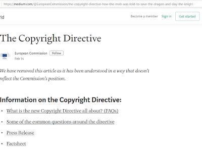 "European Commission removes offensive blog post that called critics of copyright bill a ""mob"""