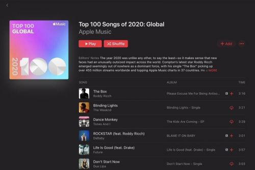 Apple Music releases the top 100 songs, albums, and more of 2020