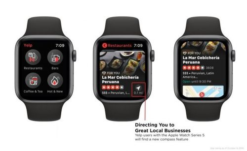 Yelp App Updated to Include Compass Support on Apple Watch Series 5