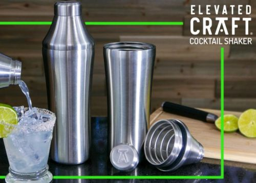Elevated Craft professional cocktail shaker with integrated measuring top