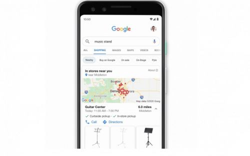 Google Shopping lets you look for products in nearby stores