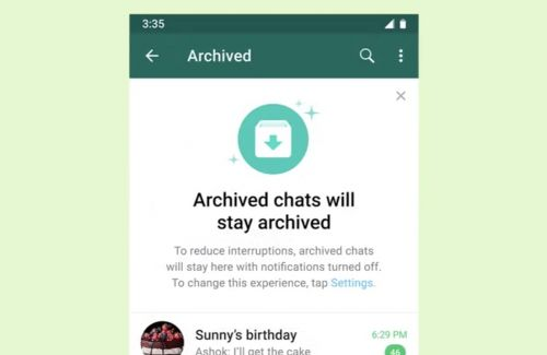 WhatsApp lets you put chats in Archives forever
