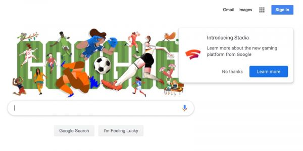 Google Stadia ad will appear on your first search today